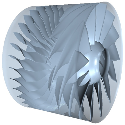 The resulting geometry of one of the axial flow stages designed by TURBOdesign1