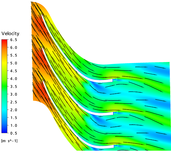 Flow prediction in redesigned guidevane