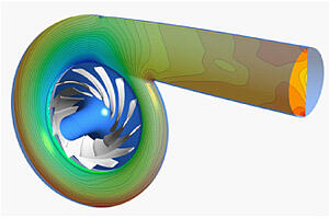 Static pressure contours in the pump stage volute