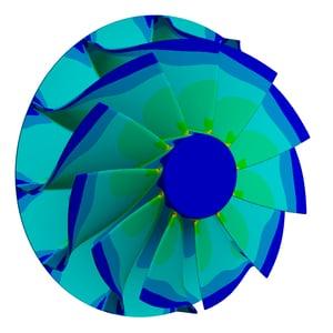 Von-Mises stress contour of the turbine wheel