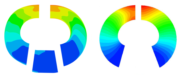 Comparison of rVt from 3D CFD (left) for the full stage and the input rVt* from TURBOdesign1 (right) showing a very good match between the specification and results