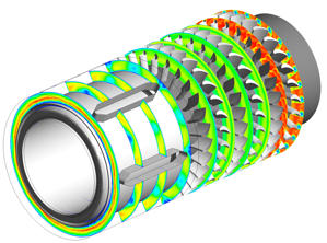 CFD analysis of three stages with bearings