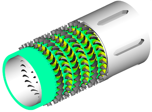 Sample image of a turbodrill showing geometry and flow field