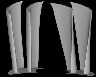 The 3D geometry of one of the nozzles and rotors designed.
