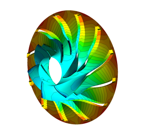The second stage impeller (surface contour static pressure)