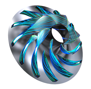 The first stage impeller (surface streamlines coloured by velocity)