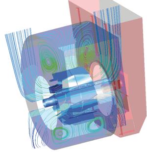 2D Streamline flow in the double suction fan stage