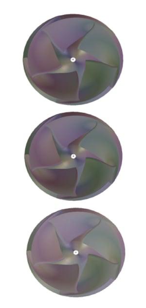 Fig.2. Designed impellers, presented in order of increasing rVt