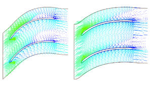 Fig.4. Comparison of the flow in the original (left) and new (right) diffuser