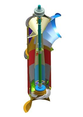 Pump assembly model of a vertical line shaft pump with adjustable impeller blades