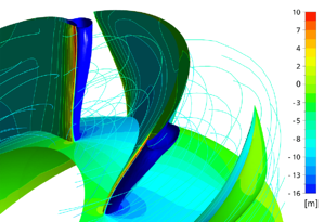 CFD result, reference design (old) at OP2: Pressure field and ISO surface of cavitation on the impeller blade surface