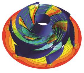 Baseline design vapour volume fraction contours and vapour streamlines