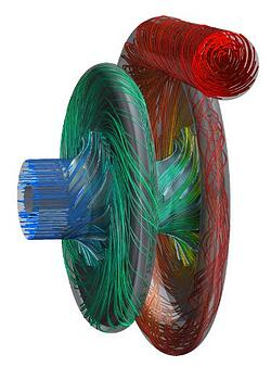 Fig. 5. Two-Stages inline Model and Streamlines Coloured by Static Pressure