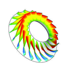 Impeller geometry and Mach contours as predicted by TURBOdesign1